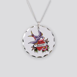Tattoo heart mommy Necklace Circle Charm