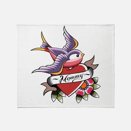 Tattoo heart mommy Throw Blanket