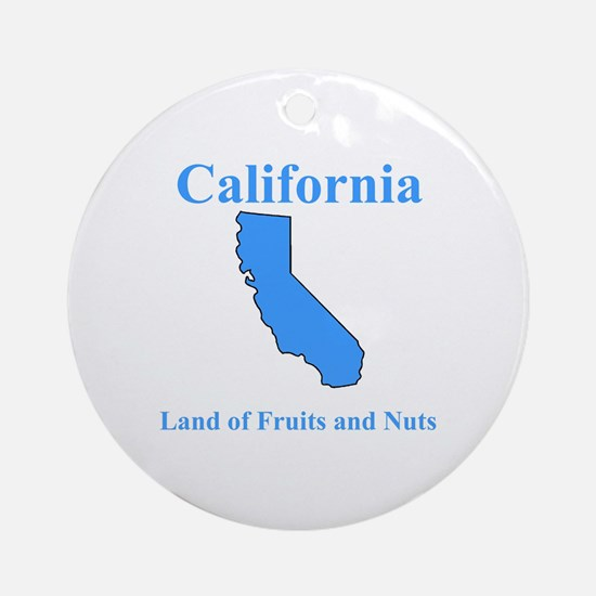 California Land of Fruits and Nuts Ornament (Round