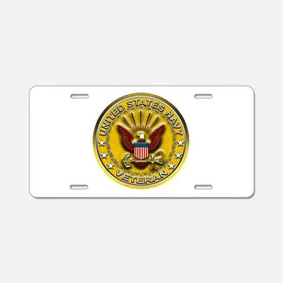 US Navy Veteran Gold Chained Aluminum License Plat
