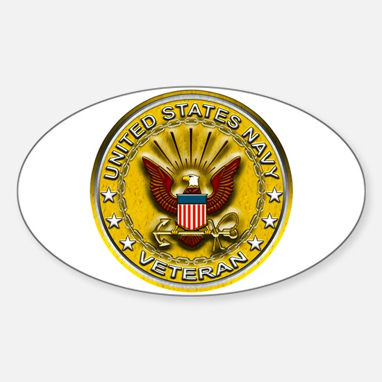 US Navy Veteran Gold Chained Sticker (Oval)