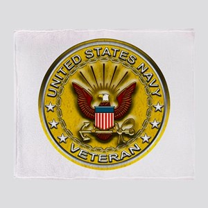 US Navy Veteran Gold Chained Throw Blanket