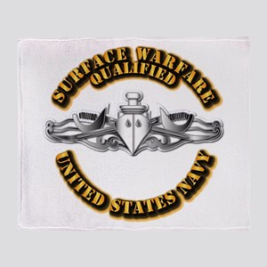 Navy - Surface Warfare - Silver Throw Blanket