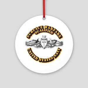 Navy - Surface Warfare - Silver Ornament (Round)