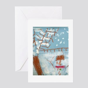 A Star Snowman On A Snowy Day. Greeting Card