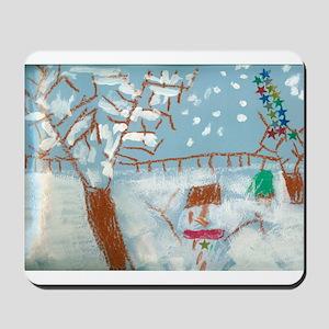A Star Snowman On A Snowy Day. Mousepad