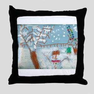 A Star Snowman On A Snowy Day. Throw Pillow
