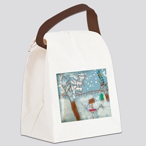 A Star Snowman On A Snowy Day. Canvas Lunch Bag