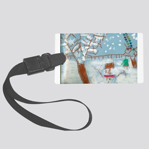 A Star Snowman On A Snowy Day. Large Luggage Tag