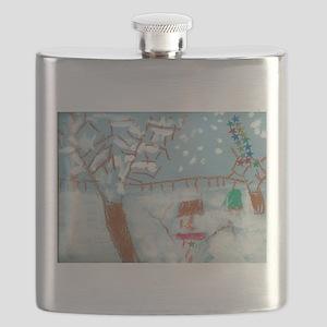A Star Snowman On A Snowy Day. Flask