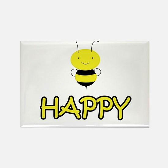 Bee Happy Rectangle Magnet