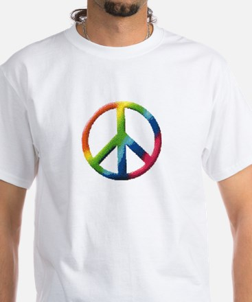 Rainbow Peace Sign White T-Shirt