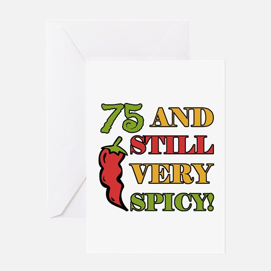 Spicy At 75 Years Old Greeting Card