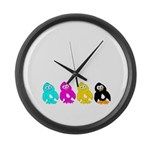 CMYK Penguins Large Wall Clock