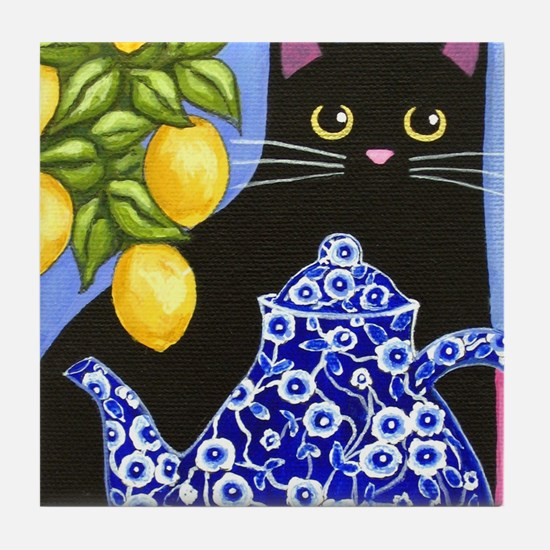 Black cat in blue willow bowl Tile Coaster