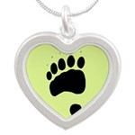 Bear Track Silver Heart Necklace