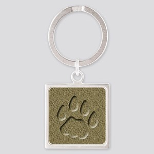 Cougar Mountain Lion Puma Tracks Square Keychain