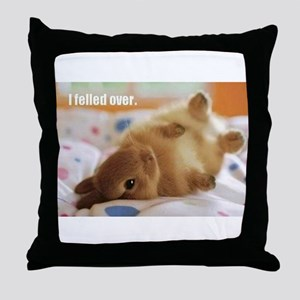 Cute bunny fell over Throw Pillow