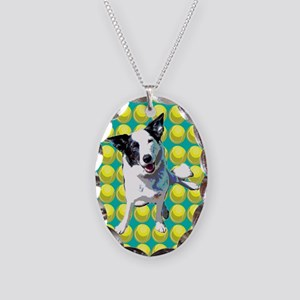 Border Collie Pop Art Necklace Oval Charm