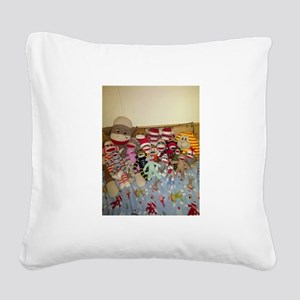 sock monkey family Square Canvas Pillow
