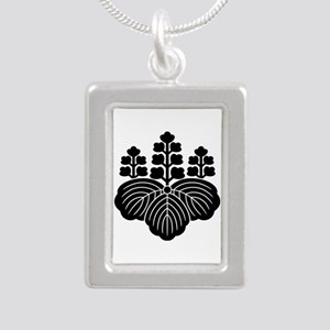 Paulownia with 5-7 blooms Silver Portrait Necklace