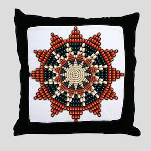 Native American Sunburst Rosette Throw Pillow