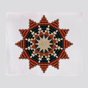 Native American Sunburst Rosette Throw Blanket