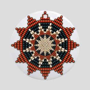 Native American Sunburst Rosette Ornament (Round)