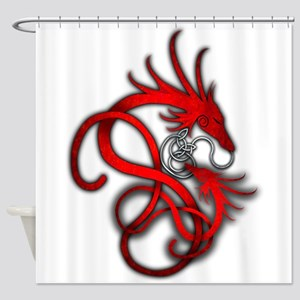 Norse Dragon - Red Shower Curtain