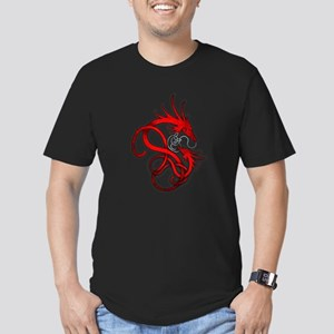 Norse Dragon - Red Men's Fitted T-Shirt (dark)