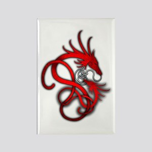 Norse Dragon - Red Rectangle Magnet