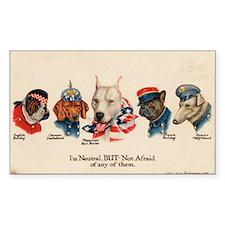 Patriotic Dogs WW1 Pit Bull Terrier Sticker (Recta