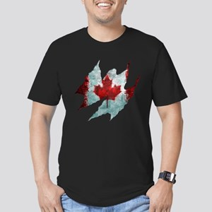 Canadian flag rip Men's Fitted T-Shirt (dark)