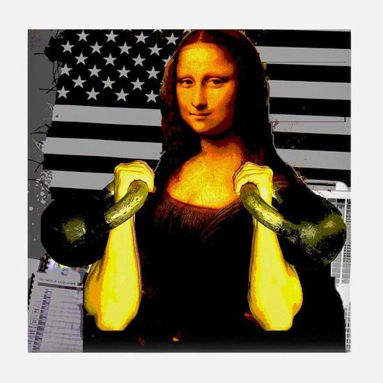 Mona Lisa Hits the Bells Tile Coaster