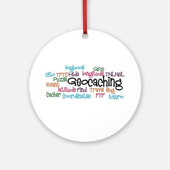 Geocaching Collage Ornament (Round)