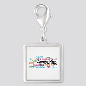 Geocaching Collage Silver Square Charm