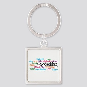 Geocaching Collage Square Keychain