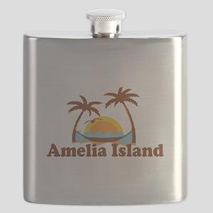 Amelia Island - Palm Trees Design. Flask