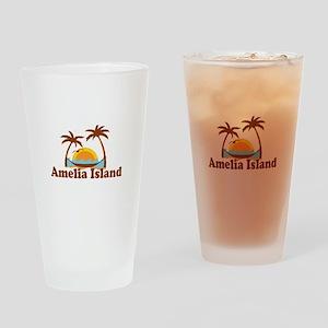Amelia Island - Palm Trees Design. Drinking Glass