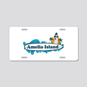 Amelia Island - Surf Design. Aluminum License Plat