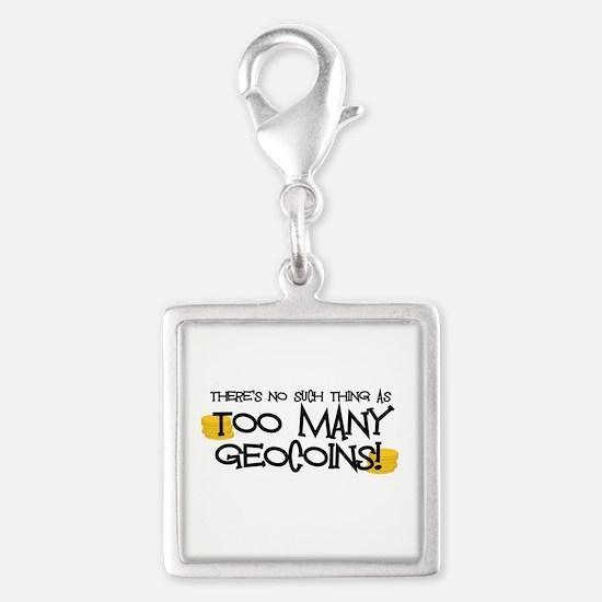Too Many Geocoins Silver Square Charm