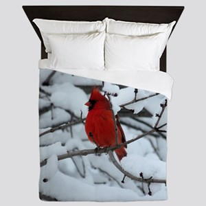 Snow Cardinal Queen Duvet