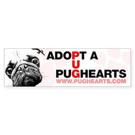 Adopt a Pughearts Pug Sticker (Bumper)