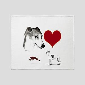 whippet valentine Throw Blanket