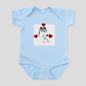 italian grey hound love n hearts Infant Bodysuit