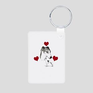 italian grey hound love n Aluminum Photo Keychain
