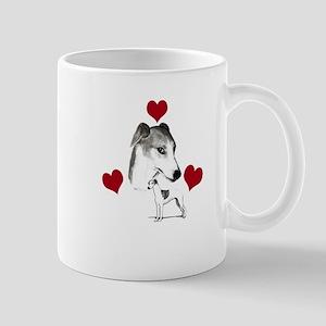 italian grey hound love n hearts Mug