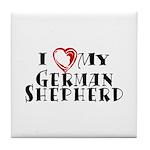 I Heart My German Shepherd Tile Coaster