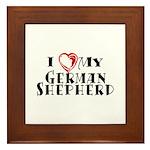 I Heart My German Shepherd Framed Tile