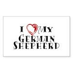 I Heart My German Shepherd Sticker (Rectangle)